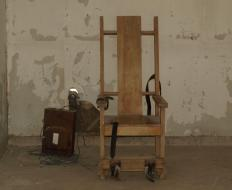 An electric chair in the former Louisiana State execution chamber. Sing Sing Correctional Facility also housed an electric chair until 1972.