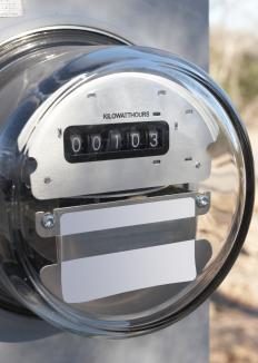 An electric power meter measuring kilowatt hours.