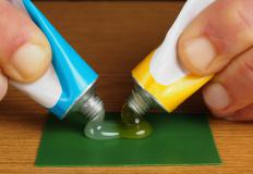 Epoxy consists of two separate tubes which are mixed together to make an adhesive.
