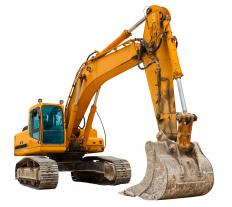 Construction machinery are displayed at heavy equipment shows.