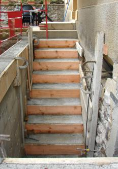 A stairway built with bricks, cement and hollow tiles are referred to as masonry steps.