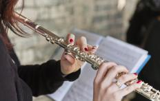 A type of woodwind, a transverse flute is held horizontally by the musician.