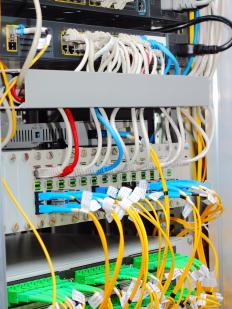 Fiber-optic adapter panels can be used to connect multiple lines.