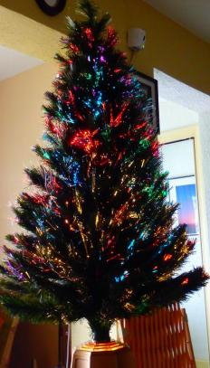 A fiber-optic Christmas tree may be displayed in people's homes during the Christmas holiday.