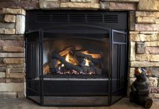 Modern fireplaces typically burn natural gas or liquid propane gas unlike the traditional wood-burning ones of the past.