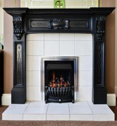 Fireplace kits can include materials to surround the face and mouth of the fire.