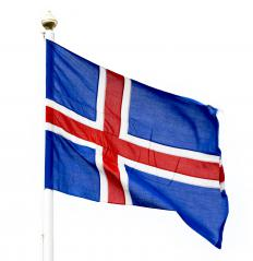 The flag of Iceland, where the Icelandic horse was developed.