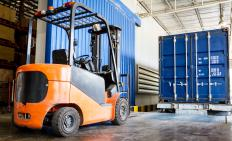 Forklifts are used to lift pallets of goods onto a truck bed, trailer, or to a warehouse shelf for storage.