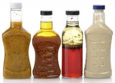 Salad dressings that include calamari may be used on a calamari salad.
