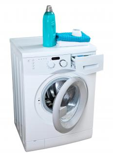 High efficiency washing machines use less water and are most commonly found in front-loading form.