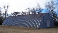 A quonset hut made with galvanized steel sheet.