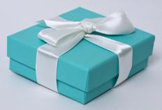 Tiffany blue gift box with a white ribbon.