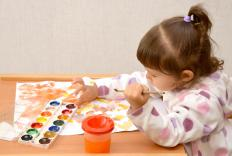 Painting with watercolors requires jars or cups for clean water to paint with, and to rinse the brushes.