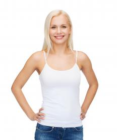 A lot of tank tops with thin straps have a built in shelf bra.