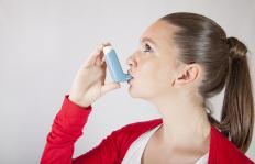 A inhaler delivers medication to a patient's airways.