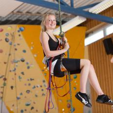 Climbing harnesses, ropes, shoes and belay devices are some of the equipment necessary for rock climbing.