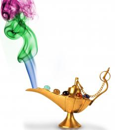 Aladdin, a figure from Arabic literature summoned a genie from an oil lamp.