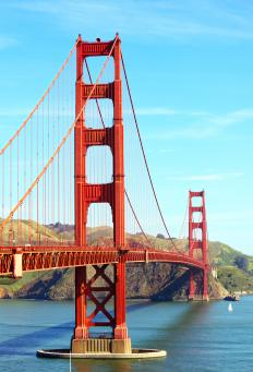 Cable supports on bridges, like the Golden Gate Bridge, allow the bridge itself to be lower in weight.