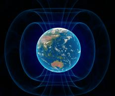 The Earth's magnetic field acts as a sort of force field against solar radiation.