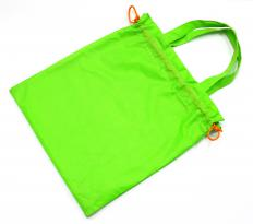 A drawstring purse features a drawstring around the top hem which can be used to close the bag.
