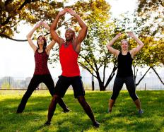 Jumping jacks provide a cardiovascular workout.