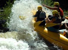 White water rafting uses specialized rubber rafts that are sturdy and flexible.