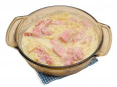 A ham and potato casserole may be eaten for brunch.
