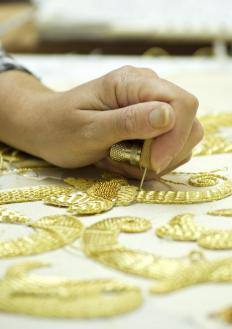 Metallic or gold thread is often used in couching.