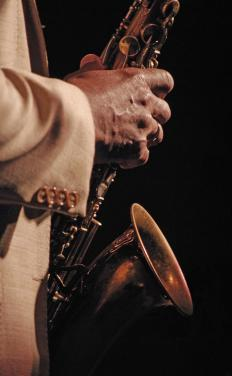 Saxophones are commonly featured in jazz bands.