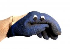 A sock puppet may consist of a sock placed over the hand.