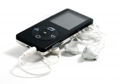 Handheld MP3 player with earbud headphones.