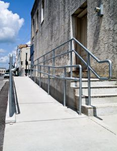 Handrails are typically found along stairs and access ramps.