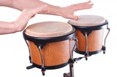 Bongos might be included in a drum set.