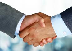 Phatic communication, such as a handshake, is a good opening to conversation.