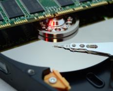 Data on an traditional internal hard drive is stored on magnetic disks.