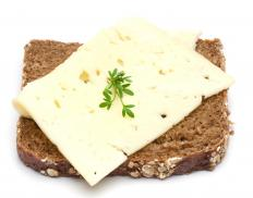 A slice of bread with havarti cheese, a type of fermented cheese.