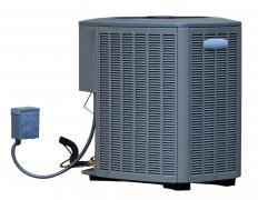 An air conditioning unit has three main parts: the compressor, the condenser and the evaporator, which has the expansion valve.