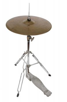 Hi hats consist of two cymbals that are held a specific distance apart by a stand and a foot pedal which allows the drummer to close them together to change the sound that's produced when they are struck.