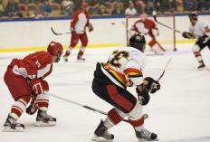 In hockey, the red line divides the ice into two halves and dictates the location of center ice.