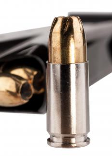 Hollow point bullets have pits at their front end that cause them to tear apart upon impact.