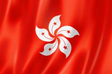 The flag of Hong Kong. Got fan is a popular dish in Hong Kong.