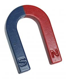 A horseshoe magnet is about twice the strength of a bar magnet, which is much stronger than the Earth's magnetic field.
