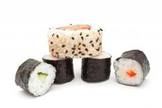 Sushi rolls made with rice.
