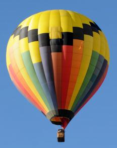 Methane combustion provides the energy that powers a hot-air balloon.