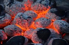 Hot charcoal briquettes.