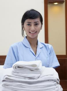 Towels and linens are commonly supplied by hotels.
