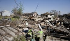 Many homes in the Ninth Ward of New Orleans were destroyed during Hurricane Katrina.