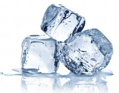 Ice cubes in a sealed plastic bag can be used as a cold compress on a bruise.