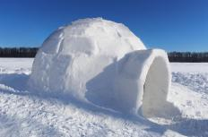 Igloos are built from blocks of compressed snow.