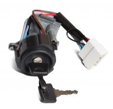 A car ignition switch and key.